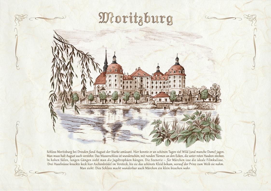 Zeichnungen kolor Schloss Moritzburg