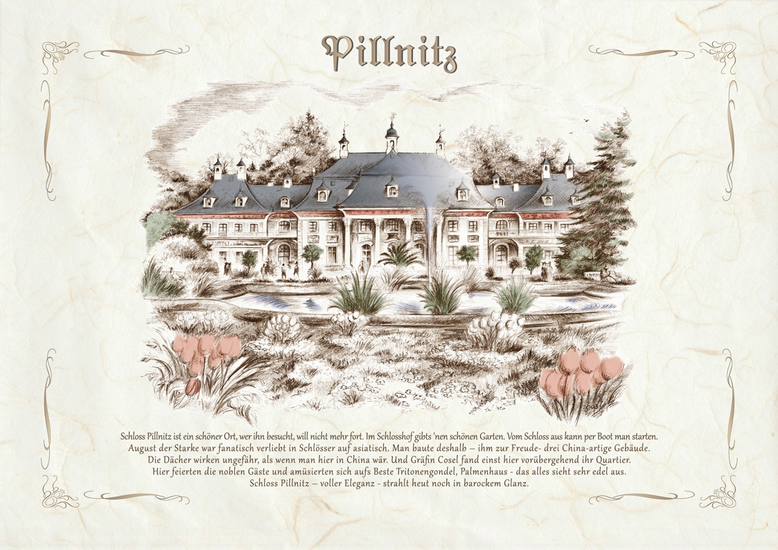 Zeichnungen koloriert Pillnitz