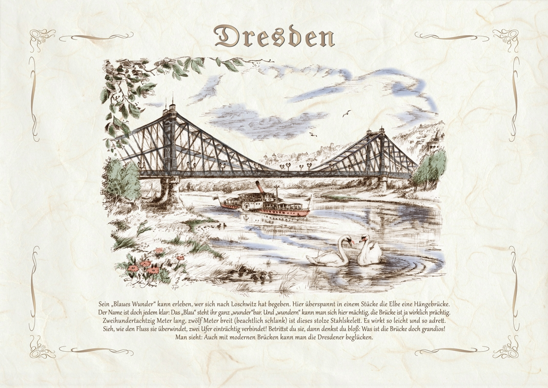 Zeichnungen kolor Dresden Blaues Wunder
