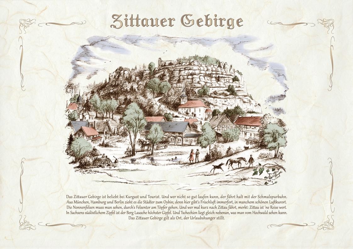 Zeichnungen koloriert Zittau