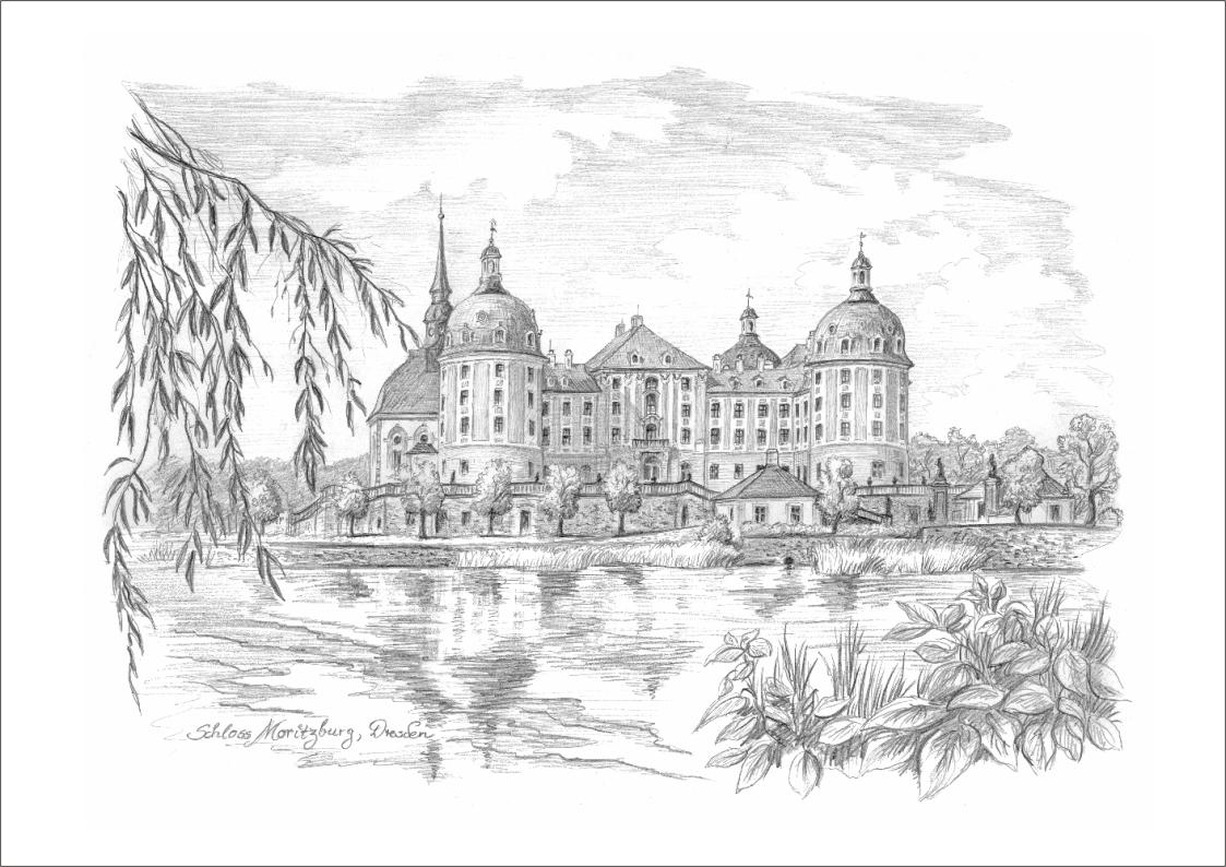 Bleistiftzeichnungen Schloss Moritzburg