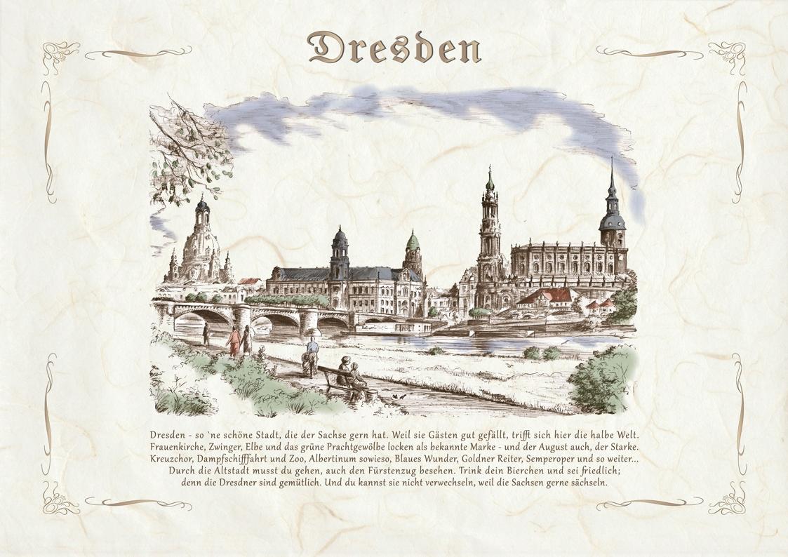 Zeichnungen koloriert Dresden
