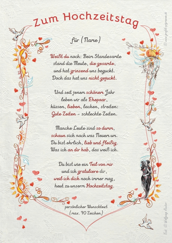 Geschenk Hochzeitstag Urkunde