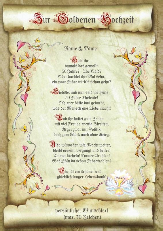 Geschenk Hochzeit Goldene Hochzeit Urkunde