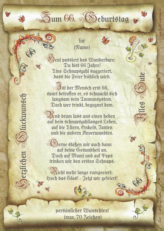 Geschenk 66 Geburtstag Urkunde