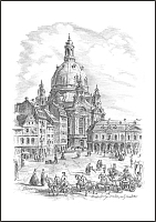 Frauenkirche mit Kutsche